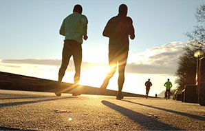 Jogging in the sunset